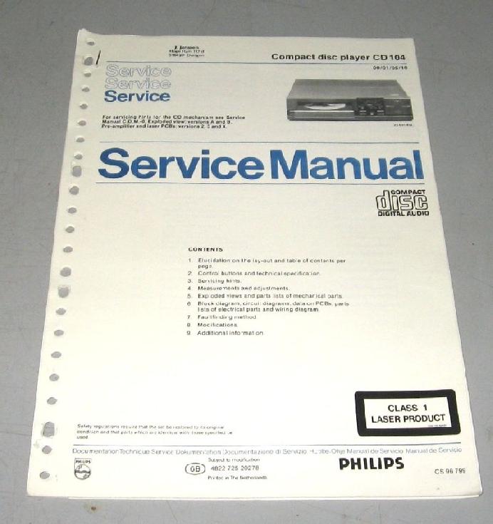 Philips Cd 104 Service Manual